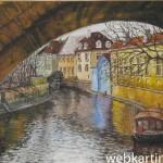 Картина Вид из-под моста на мельницу