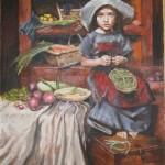Картина девочка на кухне