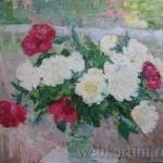 Картина цветов  «Белые пионы»