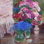 Картина «Гвоздики и васильки перед зеркалом»