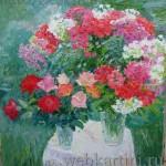 Картина  Флоксы и розы в саду