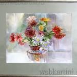 Картина «Осенний букет»,  бумага, акварель