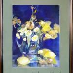 Картина «Желтое на синем», бумага, акварель