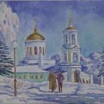 Покровская церковь, картина маслом